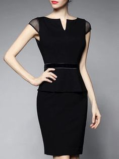 Black V Neck Short Sleeve Mini Dress
