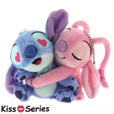 Disney Stitch & Angel hug kiss ball chain mascot plush doll bag charm in Toys & Hobbies, TV, Movie & Character Toys, Disney Lilo Stitch, Lelo And Stitch, Cute Stitch, Disney Stitch, Disney Kiss, Cute Disney, Peluche Stitch, Official Disney Princesses, Disney Valentines