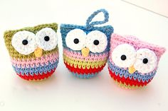 Crochet Owl Ornaments... ♥ Found at Hopscotch Lane