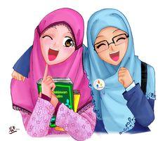 Cute and funny Hijaber Cartoons Hijabs, Hijab Barbie, Muslim Images, Wallpaper Hp, Doodle Girl, Islam Marriage, Bff Drawings, Islamic Cartoon, Hijab Cartoon