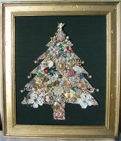 Vintage Jewelry Framed Christmas Tree – Handmade and Fabulous Christmas Angel | eBay $169