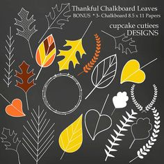 ChalkBoard Leaves  Digital Clipart Elements and Papers Commercial use for paper, invites InStAnT DoWnLoAd