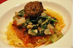 Gourmet Spaghetti Squash with Italian White Beans and Savory Nut-balls   Real Healthy Recipes