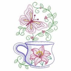 Vintage Butterflies At Teatime 03(Sm) machine embroidery designs