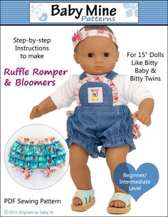 Baby Mine Ruffle Romper and Bloomers Doll Clothes Pattern 15 inch American Girl Dolls | Pixie Faire