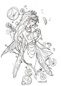 Gothic Fairy Coloring Book Page Sketch Child By AngelaSasser On DeviantART