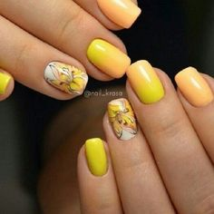 Hot Summer Ombre Nails. Turn your nails in sunny colors just like the sky is turning yellow. You can add a touch of flower to your nails, just like the one depicted in picture above.