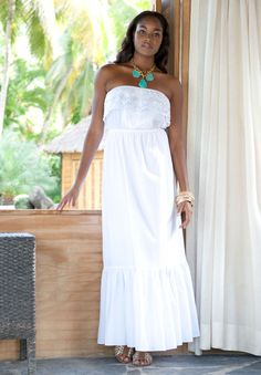 Plus Size Maxi Dress with Cutwork Detail image