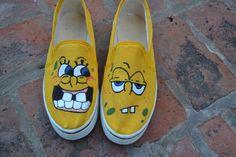 Zapatillas pintadas a mano de Bob Esponja, a la venta en https://www.facebook.com/aleludeco