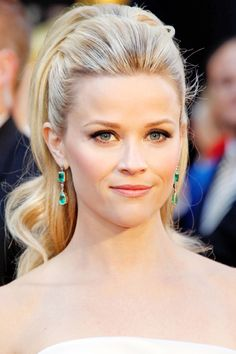 """""""I wanted to showcase her shoulders, neck, and beautiful earrings,"""" says hairstylist Renato Campora about the '60s-inspired pony he crafted for Reese Witherspoon.    Coiffeur Giannandrea, known for teasing Drew Barrymore's strands into voluminous updos, likes the look. """"Adding height to the crown can be tricky, but when done in the right proportions, it's very glamorous,"""" he says. """"A ponytail with volume on top is always stylish."""""""