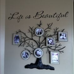 Family tree with frames on branches & vinyl saying