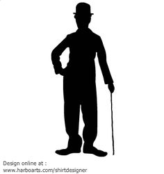 Vector silhouette of Charlie Chaplin famous comedian from the 30's standing with his bowler hat, cane and very long shoes. DOWNLOAD this vector chaplin silhouette for a few dollars (formats available AI, EPS, PDF, SVG and JPG) and enjoy royalty-free commercial usage rights - (see license and usage rights)