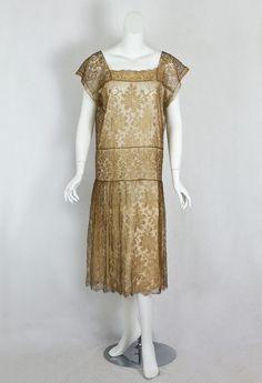1920s Clothing at Vintage Textile: #7365 Metallic lace flapper dress