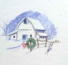 watercolor the art impressions way - snowy winter barn scene