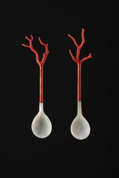 Ottoman Turkish Sherbert Spoons, coral-silver-shell, c. 19th c from Finch & Co