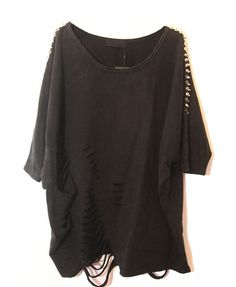 Punk Spike Batwing Sleeve Tees with Ripped Detail