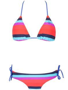 Blue Multi Stripe Two-Piece Bathing Suit