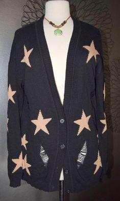 Black OLIVIA SKY Distressed Knit Oversized Cardigan Sweater Large L Festival WOW #OliviaSky #Cardigan #everyday