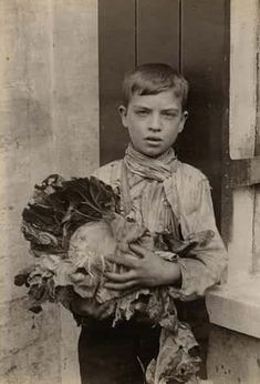"""""""A boy poses with a sprawling cabbage, possibly to take home for dinner"""". Spitalfields nippers: rare photographs of London street kids in 1901 – in pictures Victorian Life, Victorian London, Victorian Ladies, Vintage London, Vintage Pictures, Old Pictures, Children Pictures, Photos Du, Old Photos"""