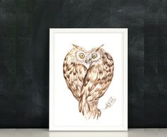 Love Owls Valentine's Day  Watercolor Painting by lunapeonyart, #valentinesdaygift #valentinesgift #valentinesjewelry #forher #love