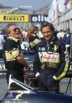 Gerard Ducarouge and Elio de Angelis (ITA) Team Lotus