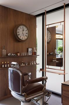 This salon interior design is soft and feminine without being over the top girly. The copper fixtures and walnut accents keep the airy space balanced and evoke a very luxurious (& expensive!) feel. See all of the photos of RHB Salon's gorgeous interior design, HERE: https://industrieonline.com/expose-kate-challis-roberta-magills-rhb-salon/?utm_campaign=coschedule&utm_source=pinterest&utm_medium=Industrie&utm_content=DESIGN%3A%20Kate%20Challis%20and%20Roberta%20Magill%27s%20RHB%20Salon