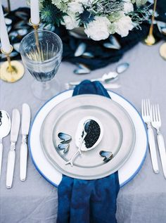Blue Hues Reception Styling | Caviar | Ocean Tablescape || REVASSER BRIDE...The Day Dream is Coming Soon... (instagram: @revasserbride)