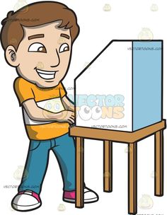 An Excited Man Casting His Vote During The Election :  A man with brown hair wearing an orange with white stripe shirt pale blue denim jeans pink with white sneakers grins as he cast his vote on a voting booth wooden desk with a white secrecy cover  The post An Excited Man Casting His Vote During The Election appeared first on VectorToons.com.