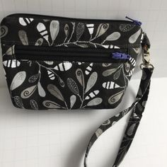 Black, Grey, and White Leaf Pattern Zipper Pouch, Wallet, Clutch, Wristlet by JazzyJoDesigns on Etsy