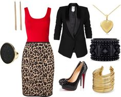 "'""Fierce Leopard"" by eonyae-jordan on Polyvore' I actually have a leopard print skirt, and shoes with a blue heel! super cute."