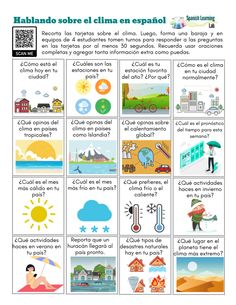 Weather conversation cards in Spanish - PDF Worksheet - SpanishLearningLab