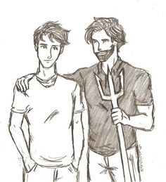 Percy Jackson and Poseidon (love the looks on their faces. they're just so casual)