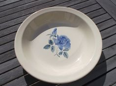 Shabby chic porcelain blue and white large deep dish Digoin
