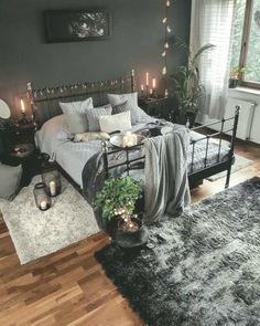 Dark, black, and cozy bedroom interior design. - Dark, black, and cozy bedroom interior design. Apartment Bedroom Decor, Budget Bedroom, Room Decor Bedroom, Bedroom Ideas, Design Bedroom, Diy Bedroom, Bedroom Inspiration, Dream Rooms, Dream Bedroom