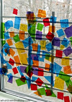 """Create a vibrant cellophane """"stained glass window"""" I can never get enough of these sorts of projects! I'm a sucker for any art activity that light passes through! Stained Glass Cookies, Fused Glass Art, Window Art, Stained Glass Projects, Preschool Art, Art Activities, Teaching Art, Art Lessons, Bunt"""