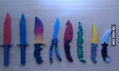 Some CSGO knifes made from plywood