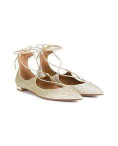 AQUAZZURA Metallic Suede Christy Flats. #aquazzura #shoes #flats