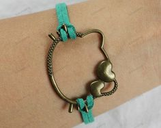 cheap Bracelets boys girls gifts  green leather by lifesunshine, $1.99