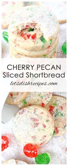 Cherry Pecan Sliced Shortbread Cookies: Festive Christmas shortbread cookies with cherries and pecans. #cookies #shortbread #christmascookies