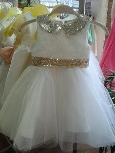 童话汇礼服馆,高档金色亮片蕾丝花童礼服裙,适合宴会派对婚礼等多场合,专柜品质!