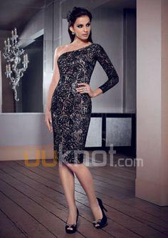 Sheath Asymmetrical Knee-Length Lace Mother of the Bride Dress - UUknot.com