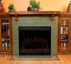 This Bungalow Fireplace with Hearth Design, a stately facade using x tiles as main field with bands of of mosaics and the top. Fireplace Backsplash, Fireplace Tile Surround, Fireplace Surrounds, Fireplace Design, Tiled Fireplace, Craftsman Fireplace Mantels, Wood Mantels, Home Fireplace, Fireplaces