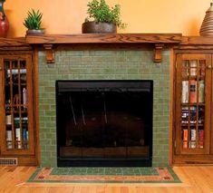 Fireplace Backsplash, Fireplace Tile Surround, Fireplace Surrounds, Fireplace Design, Tiled Fireplace, Craftsman Fireplace Mantels, Home Fireplace, Fireplace Remodel, Fireplaces