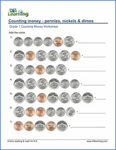 Grade 2 Counting money Worksheet on counting the 4 coins ...