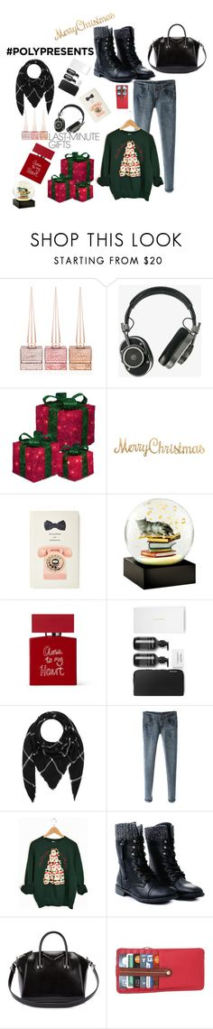 """#PolyPresents: Last-Minute Gifts"" by karito-pinup ❤ liked on Polyvore featuring Christian Louboutin, Master & Dynamic, Kate Spade, Cool Snow Globes, Bella Freud, Hat Attack, Givenchy, Nino Bossi Handbags, contestentry and polyPresents"