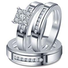 Unisex VVS1 Round Diamond 14k White 925 Sterling Silver His & Her Trio Ring Set #Unknown