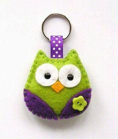Owl keyring felt