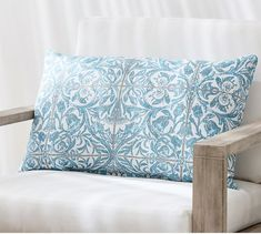 Take outdoor comfort to the next level with our incredibly durable Sunbrella® pillow. A tile-inspired print is the perfect choice for patio lounging. Sunbrella Pillows, Throw Pillows, Smurf House, Pottery Barn, Indoor Outdoor, Tapestry, Outdoor Pillow, Patio, Tile