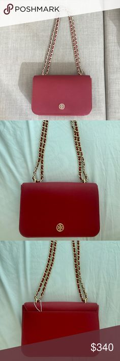 "FINAL PRICE  Tory Burch Robinson bag The bag is made out of saffiano leather with a magnetic flap closure in vibrant red and gold hardware. Interior: zip pocket and open pocket. Exterior: side pocket at the back. Chain strap could be adjusted to both cross body or shoulder bag. Measurements: 5.25"" H x 9""L x 3.5"" D  NEW WITH TAG. Got this bag a long time ago (2016 in the Santa Monica store), but never used it Tory Burch Bags Shoulder Bags"