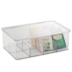 The Cabinet Binz Tea Box is a durable, clear plastic tea organizer with a lid and 8 compartments to separate a variety of teas. Can be stacked to maximize storage space.